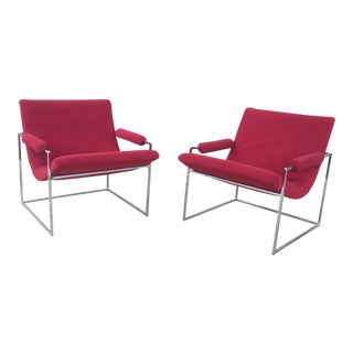 Milo Baugman for Thayer Coggin Red Scoop Lounge Chrome Chairs - A Pair