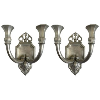 Just Andersen Pewter Candle Sconces - A Pair