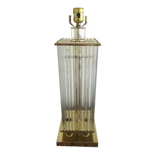 Gaetano Sciolari Style Brass & Glass Table Lamp
