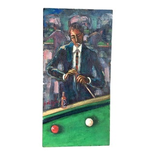 Pool Player Portrait Painting