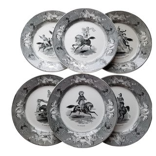 Antique Equestrian and Circus Scenes Black and White Creil Et Montereau Plates- Set of 6
