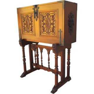 Spanish Antique Drop Front Desk With Iron & Leather Accents