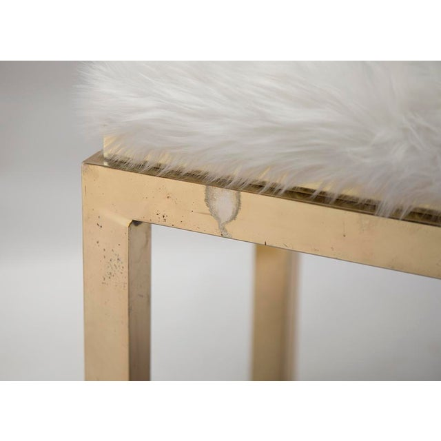 Image of 1970's Brass Faux Fur Upholstery Benches - A Pair