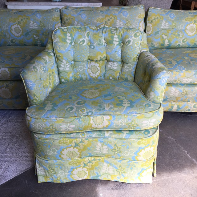Mid-Century Blue-Green Floral Accent Chair - Image 2 of 8