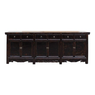 Chinese Distressed Brown Long Sideboard Console Table Cabinet