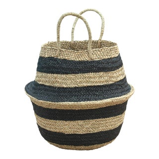 Brunna Stripes Tribes Straw Basket Bag, in Black