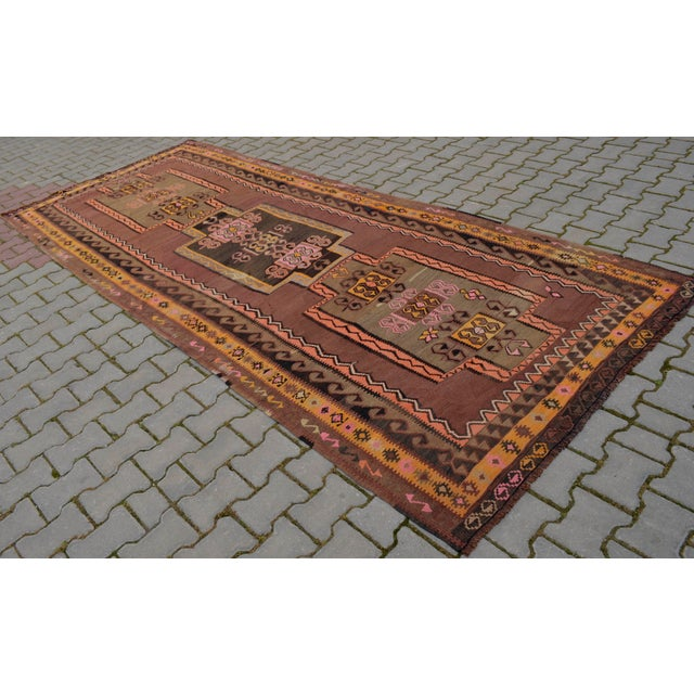 Turkish Hand Woven Kilim Rug - 5′1″ X 12′6″ - Image 2 of 10