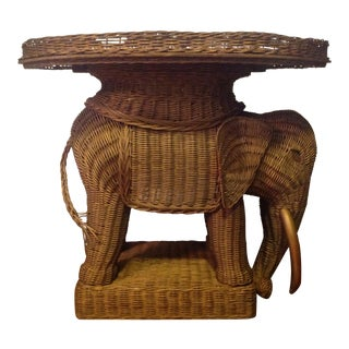 Vintage Wicker Elephant Tray Side Table