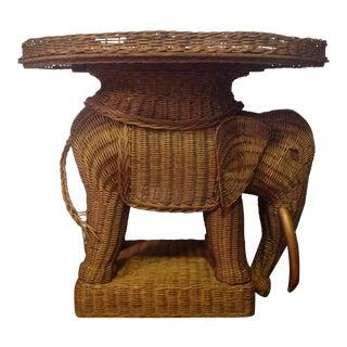Vintage Wicker Elephant Tray Side Table