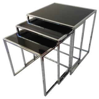 Milo Baughman Chrome Nesting Tables - Set/3