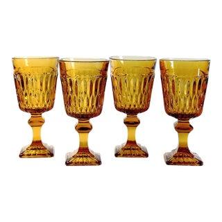 Vintage Amber Glass Goblets - Set of 4