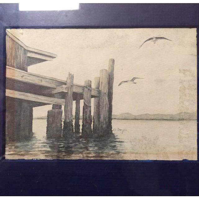 Small Framed Dock Scene - Image 3 of 3