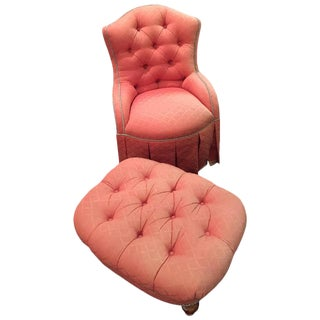 Finely Upholstered Custom Quality Slipper Chair & Ottoman - A Pair
