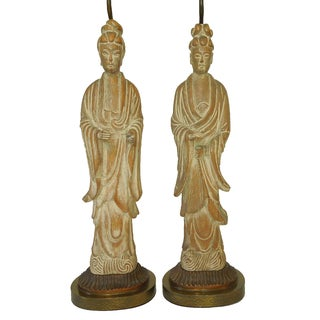 Cerused Oak Chinoiserie Mont Style Lamps - A Pair
