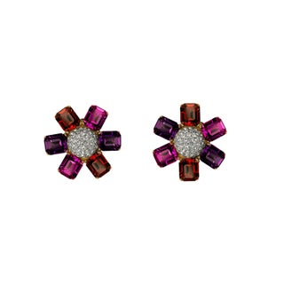 Fuschia Swarovski Crystal Earclips by Ciner