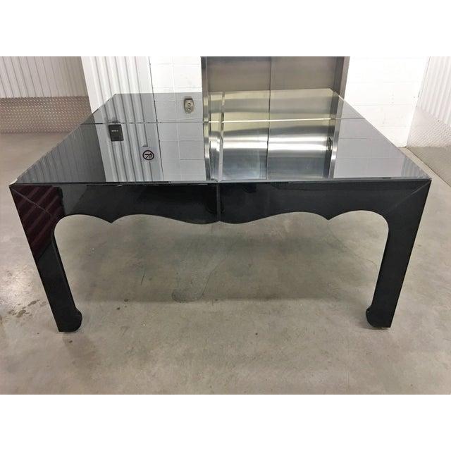 Large Black Dining Table: Large Black Beveled Mirror Dining Table