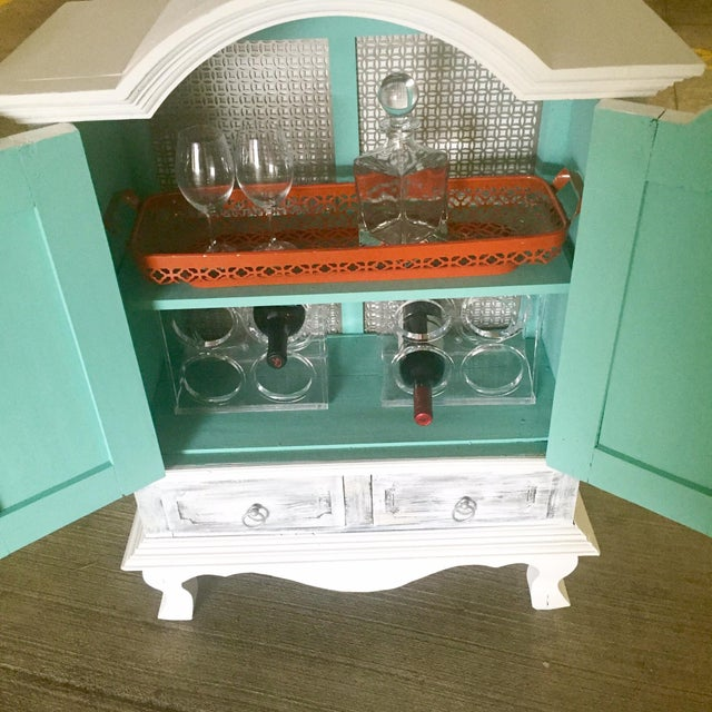 Image of Vintage Distressed White Wine Cabinet