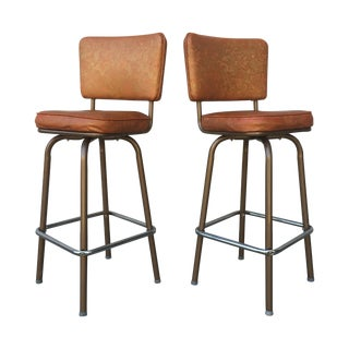 Mid-Century Vinyl Swivel Bar Stools - A Pair
