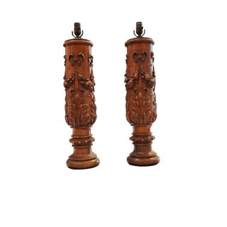 Finely Carved 19th Century Balusters Presented as Lamps