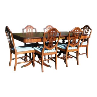 Thomasville Hepplewhite Duncan Phyfe Mahogany Dining Set Table & 6 Shield Back Chairs