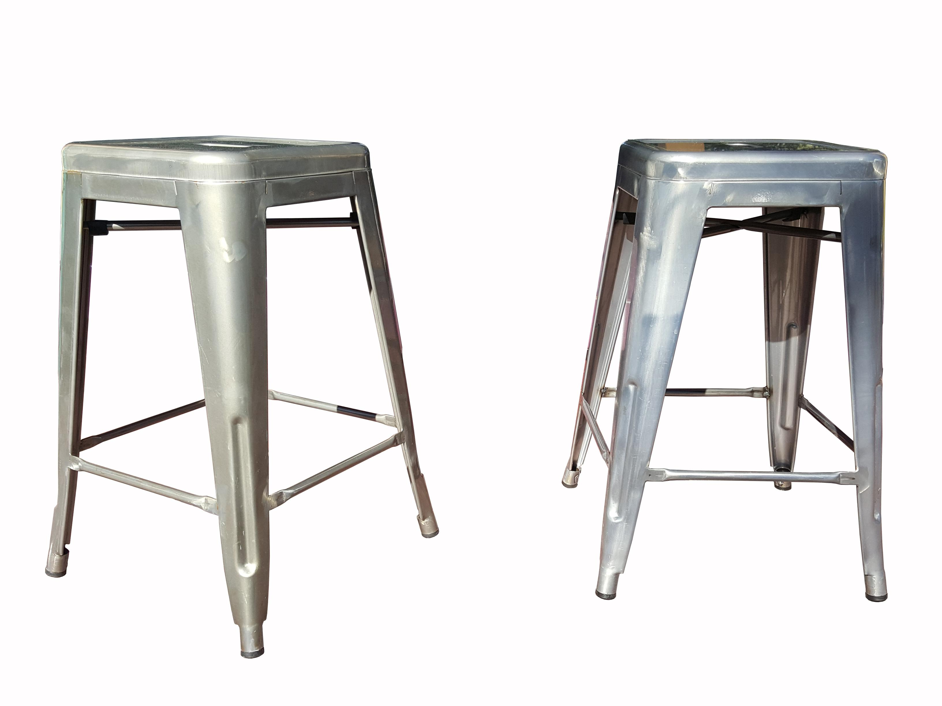 Industrial Tolix Marais Style Counter Bar Stools A Pair