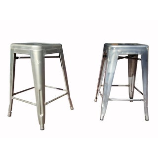 "Industrial Tolix ""Marais"" Style Counter Bar Stools - A Pair"