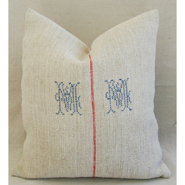 1940s French Grain Sack Textile Pillow - Image 2 of 7