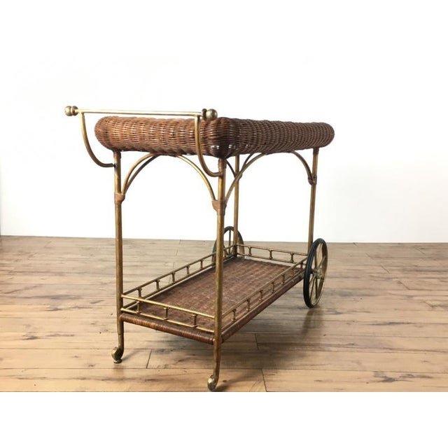 Vintage Wicker Wrapped Bar Cart - Image 5 of 7