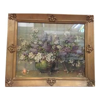 Vintage Carle J. Blenner Framed Floral Lithograph