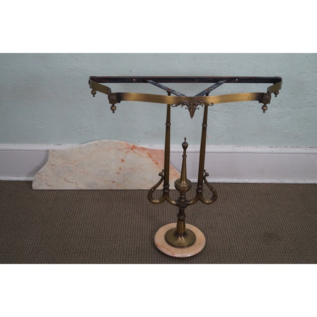 Italian Hollywood Regency Marble Top Console Table - Image 10 of 10