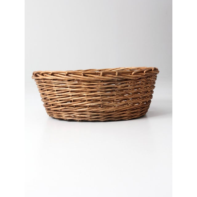 Vintage Oval Woven Reed Basket - Image 3 of 6