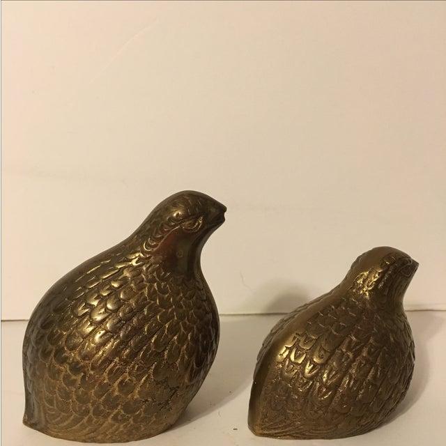 Vintage Brass Quails - A Pair - Image 3 of 6