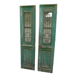 Antique French Green Paint Wood & Iron Doors - A Pair