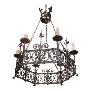 19th Century French Gothic 6-Light Black Iron Chandelier