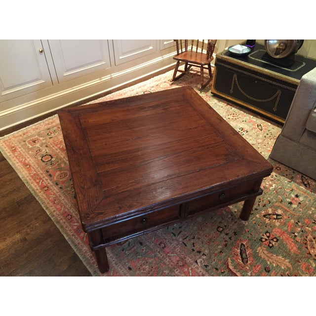 Square Elm Wood Coffee Table - Image 4 of 5