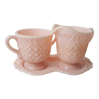 Fostoria Pink Cream & Sugar Set