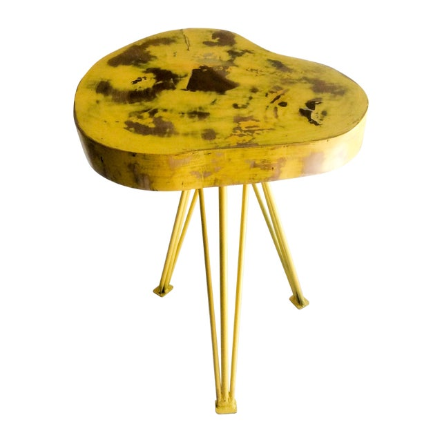 Yellow Wood End Table - Image 1 of 6