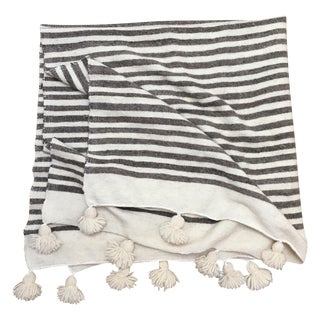 Handmade Moroccan Wool Throw With Pom Poms