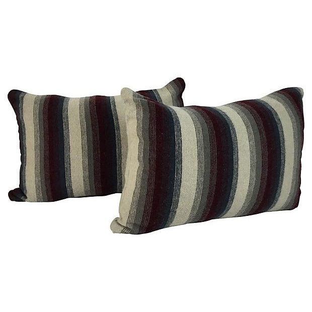 Image of Repurposed Wool Blanket Lumbar Pillows - A Pair