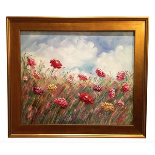 Original Floral Oil Painting With Gilt Frame by Sarah Kadlic