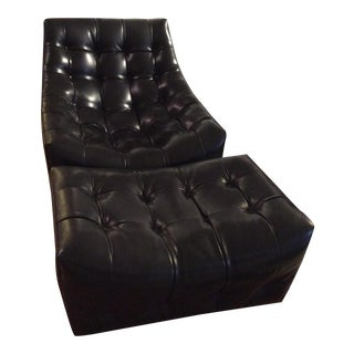 Black Leather Chair & Ottoman