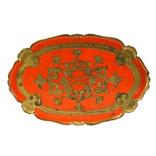 Italian Florentine Gilded Tray in Orange