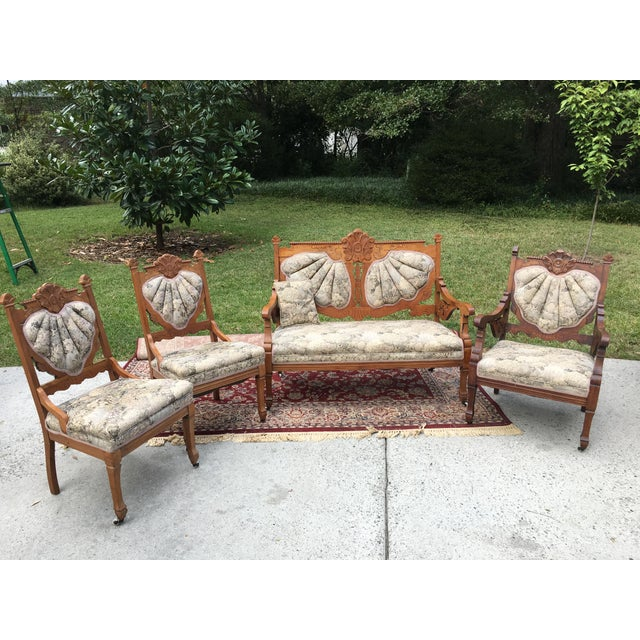 Eastlake Victorian Settee Armchair Amp Armless Chairs Set