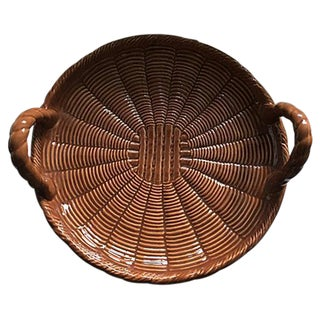 Rattan Style Ceramic Tray From Portugal