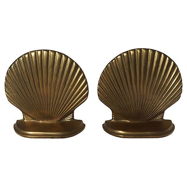 Image of Brass Shell Shaped Bookends - Pair
