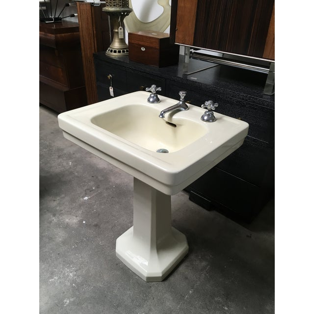 American Standard Antique Art Deco Pedestal Sink - Image 2 of 11