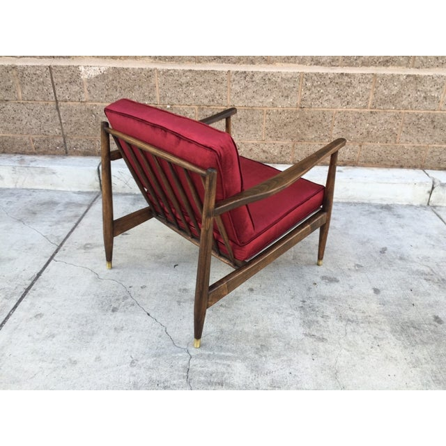 Image of Mid Century Walnut and Velvet Lounge Chair