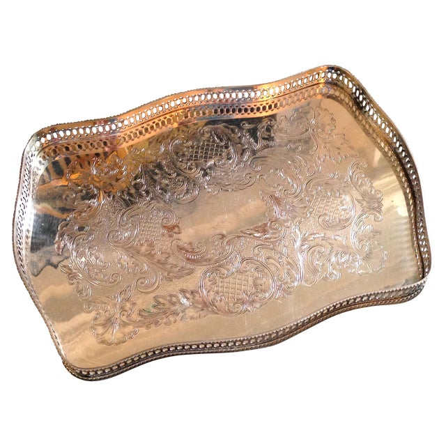 Antique English Sheffield Silver Gallery Tray - Image 1 of 4