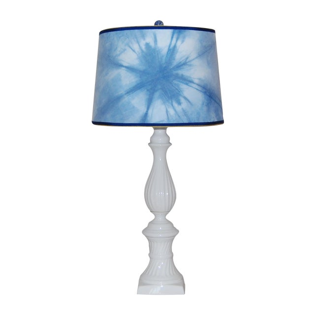 Ceramic Column Lamp With Shibori Lampshade - Image 1 of 5