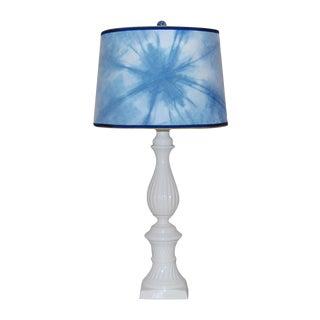 Ceramic Column Lamp With Shibori Lampshade
